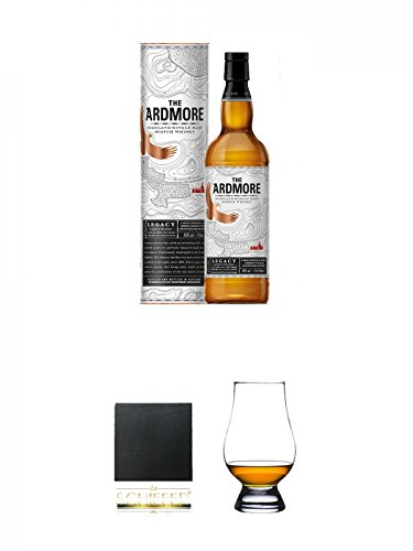 Legacy-schiefer (Ardmore Legacy Single Malt Whisky 0,7 Liter + Schiefer Glasuntersetzer eckig ca. 9,5 cm Durchmesser + The Glencairn Glass Whisky Glas Stölzle 1 Stück)