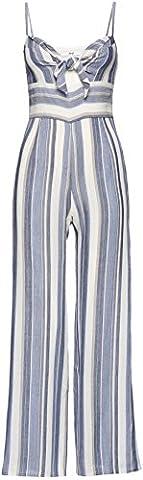 FIND Women's Tie Front Jumpsuit, Multicoloured (Blue Stripe), Medium