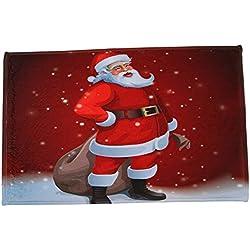 mxjeeio 1PCS Weihnachten Deko Flanell Bedruckt Saugstarke Wasserdicht Bodenmatten Badezimmer Anti - Rutsch - Pads - 40 x 60 cm