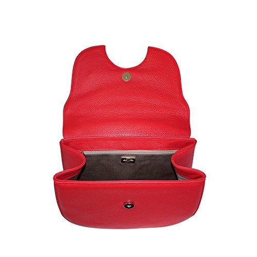 Carbotti Borsa a tracolla in pelle di metallo in pelle italiana, Borsa a tracolla (rosso) rosso