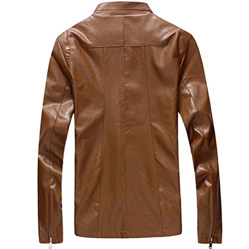 Zhuhaitf la mode masculine Mens High Quality Regular Fit PU Leather Jacket Coat Outerwear Sizes XL,XXL,XXXL,4XL,5XL, Black