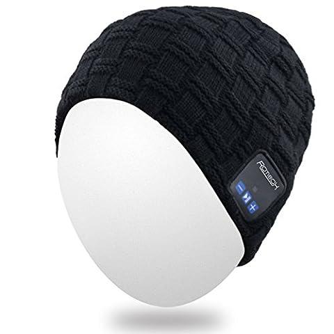Qshell drahtlose Bluetooth Beanie Dual-Knit für Mann-Frauen mit Stereo-Kopfhörer Ohrhörer-Lautsprecher Freisprechtelefonanruf für Gym Laufen Laufen Skating Wandern, Weihnachtsgeschenke -