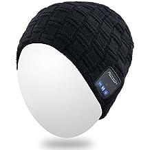 Beanie qshell inalámbrica Bluetooth del casquillo del sombrero de doble punto, para hombres Las mujeres con auriculares estéreo para auriculares Altavoces para teléfonos manos libres Llamar para hacer gimnasia Esquí Ejecución de patinaje de Turismo, regalos de Navidad - Negro
