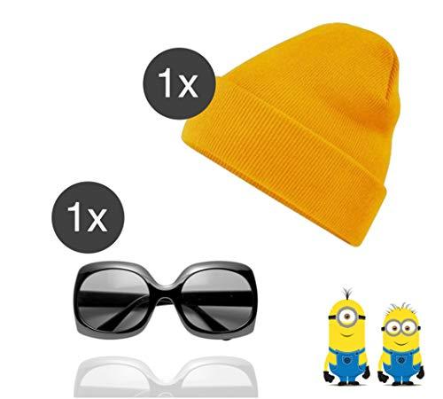Mütze Kostüm Minion - TK Gruppe Timo Klingler Minion Kostüm Accessoires für Herren und Damen Fasching & Karneval mit Mütze gelb und Brille