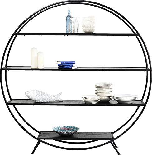 Kare Design Regal Mason Round, rundes Regal mit 4 Einlegeböden für Deko und Bücher, rundes Bücherregal, modernes, Schwarzes Standregal (B/H/T) 180x185x13cm -