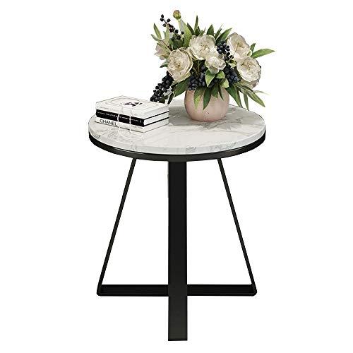 ZHILONG Marmo Nordic Side Table Divano ad Angolo Tavolo Ferro Nero Arte Croce Base Piccola Tavola Rotonda Display Stand, 50x53CM