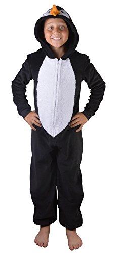 Mädchen Kinder mit Kapuze Einhorn Bademantel Einteiler Kostüm Nachtwäsche kuschelig Weihnachten Geschenkidee - Pinguin Einteiler, ()