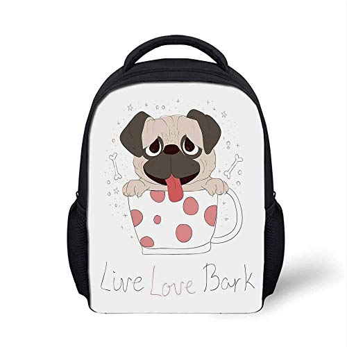 Kids School Backpack Pug Stylish,Live Love Bark Quote with a Cute Puppy in a Tea Cup Happiness Funny Image for School Travel,9.4' L x 3.5' W x 12.2' H