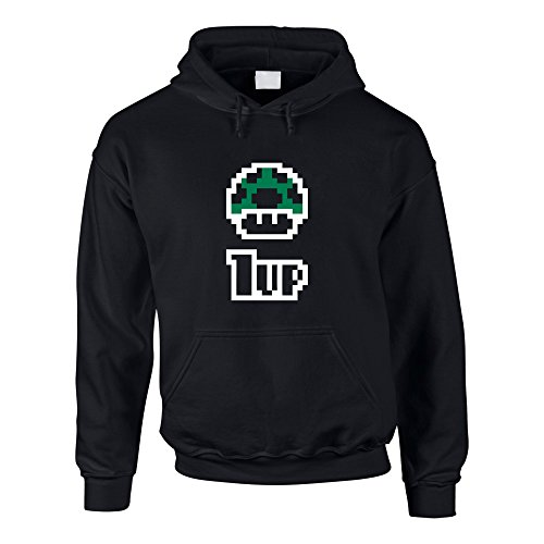Shirtdepartment Hoodie Super Mario Toad 1UP Kapuzenpullover Luigi Sweater Game, L, schwarz - Retro-gaming-pullover