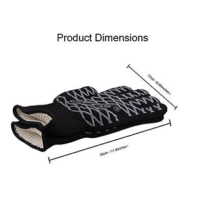 OVOS Grillhandschuhe 1Paar Extrem hitzebeständige Topfhandschuhe bis zu 500°C-EN407 zertifizierte Ofenhandschuhe mit Rutschfesten Silikon Beschichtet