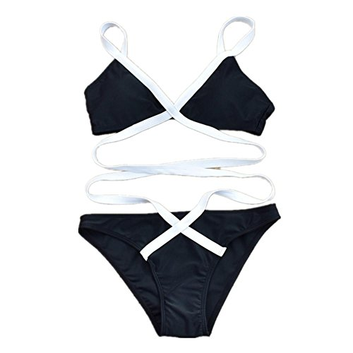 AMYMGLL Frauen Badeanzug Bikini Badeanzug Erwachsenen Europa und die Vereinigten Staaten Frauen separate Swimwear schnell trocknen hohe Elastizität Black