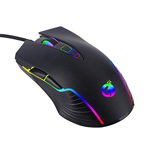 Ecisi Gaming-Maus verkabelt, programmierbar, atmungsaktiv, ergonomisches Spiel USB-Computer-Mäuse RGB-Gamer-Desktop-Laptop mit bis zu 4000 DPI Für Windows PC-Gamer -