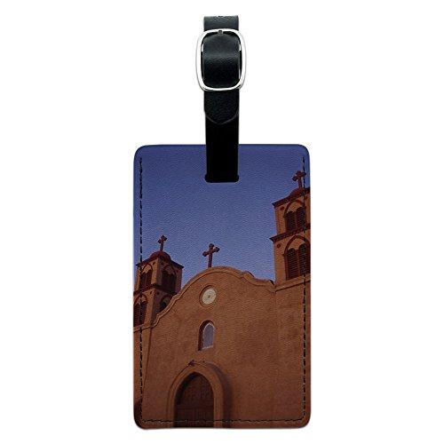 Old San Miguel Mission–Adobe Kirche New Mexico) Leder Gepäck ID Tag Koffer (Adobe-leder)