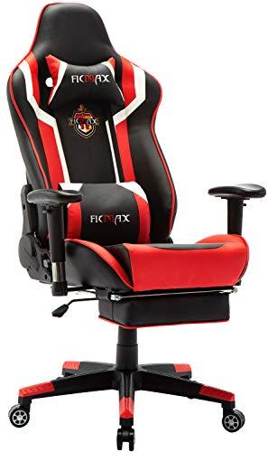 Ficmax Gaming Stuhl mit Massage, Ergonomischer Bürostühle Gamer Sessel für Computer, PU-Leder E-Sport Racing Stühle mit Fußlehne, Lendenkissen Büro Sessel für PC