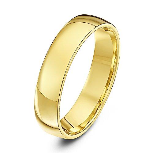 Theia Alianza unisex de oro amarillo (18k), forma corte, pesada, pulido, talla 29