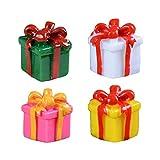 Arichtop 4PCS Leuchtende Farbe Geschenk-Kasten-Art Miniatur-Weihnachts Zubehör Resin Micro Landschaft Ornament