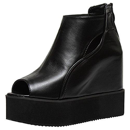 Oasap Femme Chaussure A Talons Hauts Bout Ouvert Plate-forme Talons Compensés Noir