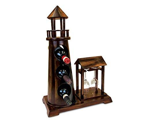 Bottiglie di vino Décor-Cesare-3e 2bicchieri di vino supporto in legno a forma di faro