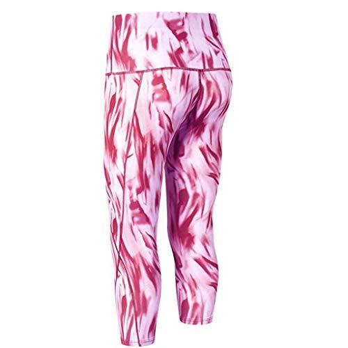 AIni Yogahosen für Damen,Sale 2019 Neuer Beiläufiges Mode Bedruckte Hose mit hoher Taille und Fitness-Yogahose mit schrägen Taschen Yoga Leggings Fitness Sport Hosen Trainingshose (M,Rosa)