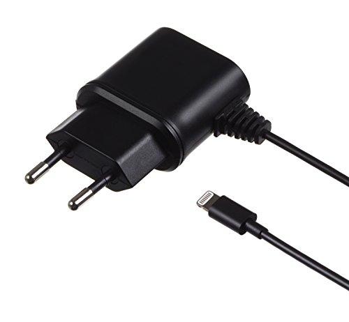 Kit MFI Apple Zertifiziert 2.1 A EU Netzladegerät Ladekabel mit 2-pin EU Netzstecker und Lightning Anschluss Kompatibel mit iPhone 5/5S/5C/6/6 Plus/6S/6S Plus, iPad 4. Generation/Air/Mini/Pro, iPod Nano 7. Generation und iPod Touch 5. Generation - Schwarz