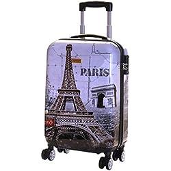 Karabar Bagage Cabine à Main Valise Rigide Léger 55 cm 2,5 kg 35 Litre 4 roulettes TSA Serrure, Falla Paris