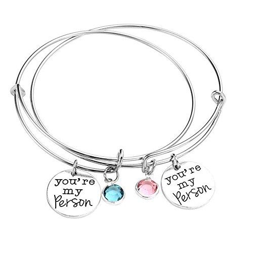 Braccialetto rigido con pendaglio con scritta 'You're my person' (in lingua inglese) e ciondolo in cristallo, set con 2 bracciali, ideale come regalo per la migliore am