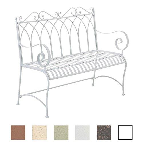 CLP Gartenbank DIVAN im Landhausstil, aus lackiertem Eisen, 106 x 51 cm - aus bis zu 6 Farben wählen Weiß