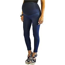 Completo Tobillo Longitud de la azul algodón más Bump maternidad Denim Look Leggings Jeggings * azul azul 38