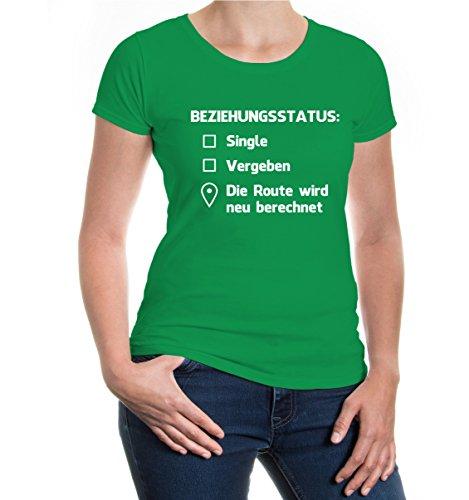 Girlie T-Shirt Beziehungsstatus: Singel, vergeben, Route wird neu berechnet-S-Kellygreen-White