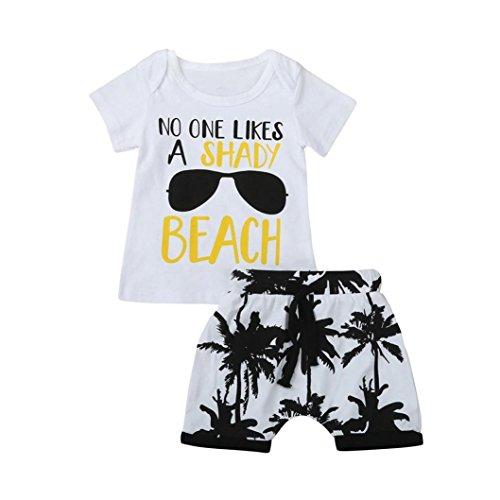 Pijama Verano Niño, Zolimx Bebés Recién Nacidos Carta de Las Niñas de Impresión Camisetas Tops + Árbol Pantalones Trajes Conjunto de Ropatos Trajes (12 Meses)