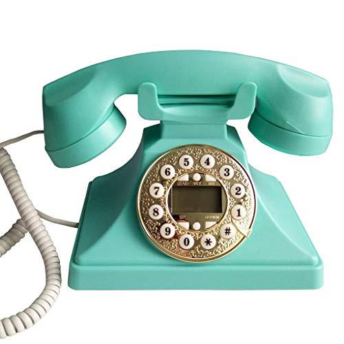 JNYTD EuropäIsches Retro-Telefon/Tastenwahl-Smart-Backlit-Telefon-Festnetz, Rot