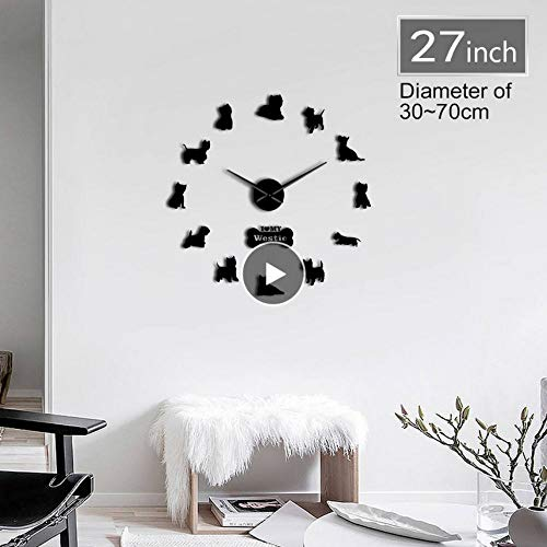 Rjjdd West Highland Terrier Westie Hunderasse Lange Uhr Hand 3D DIY Wanduhr Welpen Tier Selbstklebende Große Acryl Time Clock Uhr-47 Zoll-Dekoration