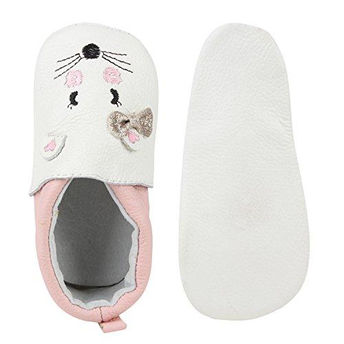 Kinder Mädchen Hausschuhe Pantoffeln Bequem Katzen Gesicht Leder Weiss Rosa
