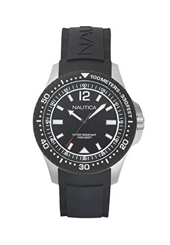 Nautica Men's 'MAUI' Quartz Stainless Steel and Silicone Casual Watch, Color:Black (Model: NAPMAU001)