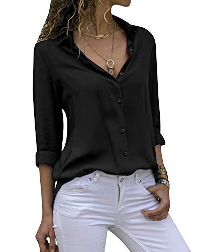 Cassiecy Damen Bluse Chiffon Elegant V-Ausschnitt Langarm Casual Oberteile Hemd Lose Langarmshirt Tops(Scharz,XXL) -