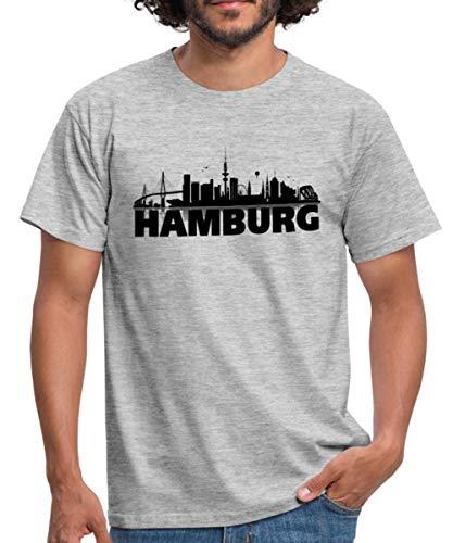 Stadtbild 1 T-shirt (Spreadshirt Hamburg Skyline Männer T-Shirt, 4XL, Grau meliert)