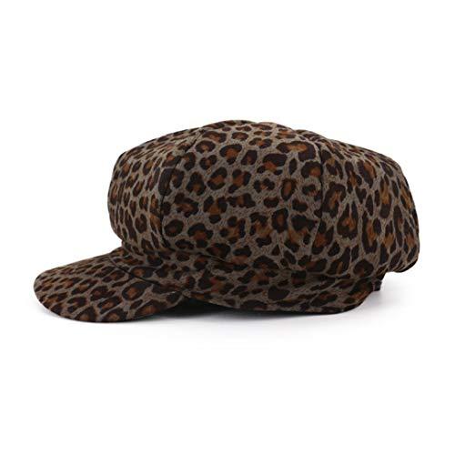 JOYOTER Boinas Estampado Leopardo Mujer Gorra Octogonal