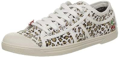 Le Temps des Cerises Basic 02, Baskets mode femme - Blanc (Leopard), 36 EU