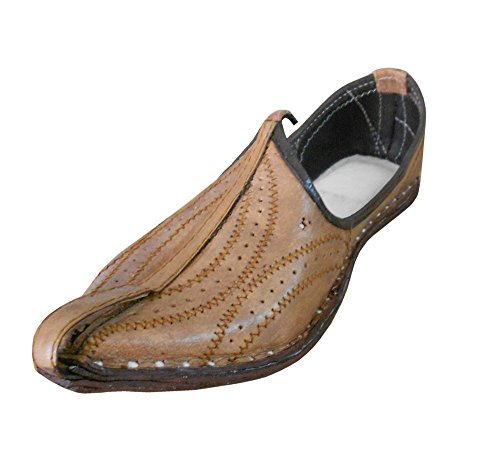 kalra Creations hommes de Indian mojari traditionnel ethnique en cuir Appartements Camel