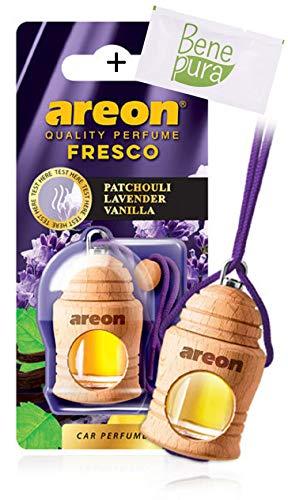 AREON Auto Lufterfrischer Parfüm Fresko 4 ml - Patchouli, Lavendel, Vanille-Duft - Hängende Flasche Diffusor mit Echtholzdeckel, langlebig -