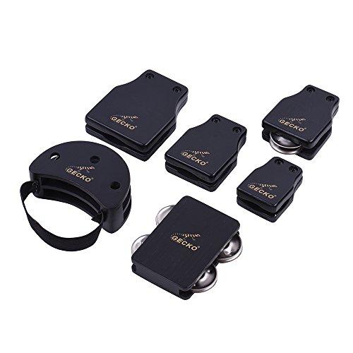 ammoon GECKO GK-Serie Cajon Box Drum Companions Set mit Kastagnetten Jingle Bells Fuß Tambourine Schlaginstrumente