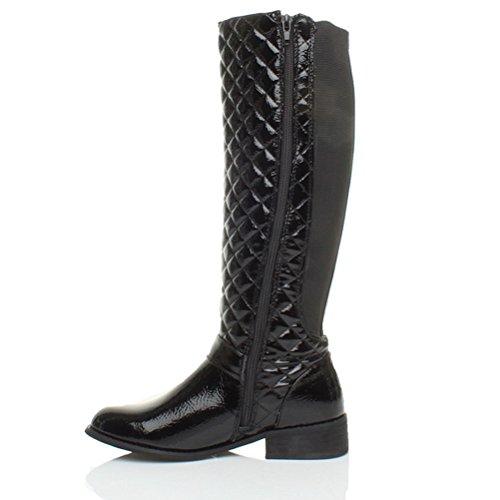Stivali donna,tacco basso, caviglia ampia con zip da equitazione bici numero Vernice nera