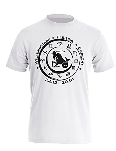 Sternzeichen Steinbock - Astrologie - Herren Rundhals T-Shirt Weiss/Schwarz
