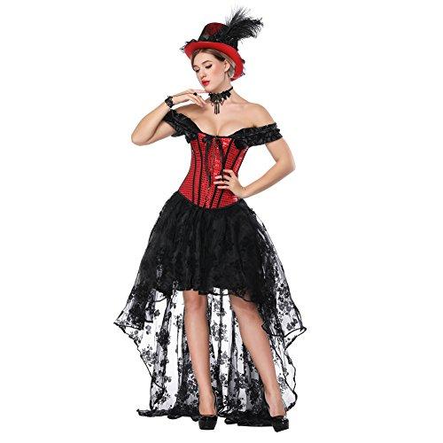 FeelinGirl Damen Korsagekleid Steampunk Gothic Kostüm Magic Mistress Hexenkostüm Teufelchen Halloween Cosplay Priatbraut (Gothic Kostüme Damen)