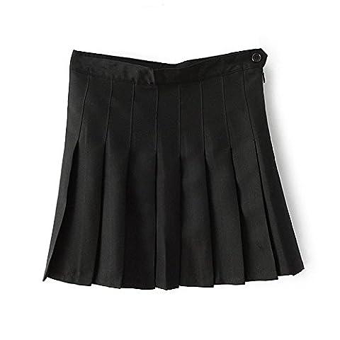 ISASSY School Box Pleat Uniform Pressure Pleated skirt Slim Thin Pleated Tennis Skirts Mini Dress Black Large