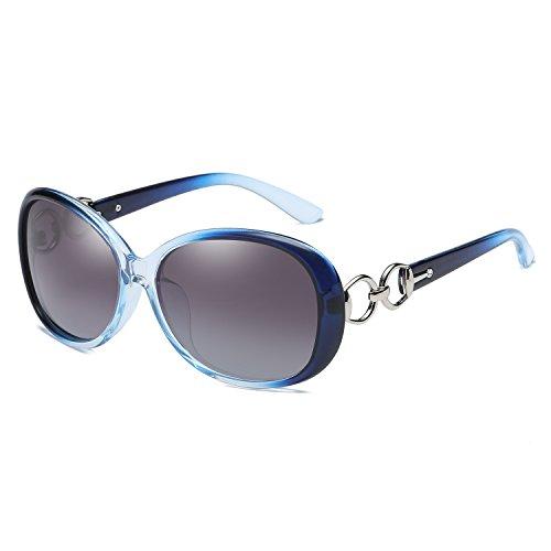 BLEVET Klassisch Groß Damen Sonnenbrille Polarisiert 100% UV-Schutz (Blue Frame Gray Lens)