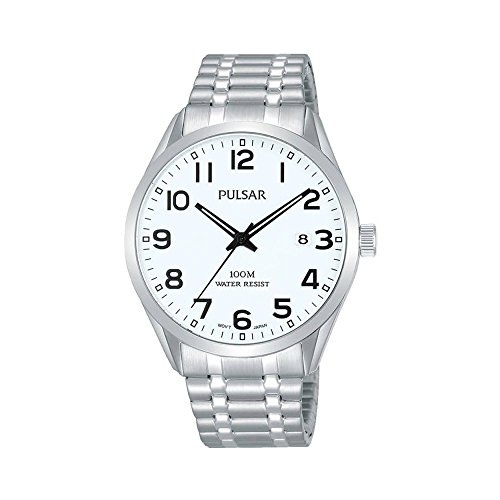 Pulsar Mens Stainless Steel Bracelet Date Dial PS9559X1