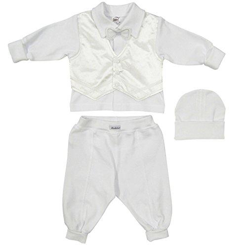 Abito da battesimo per bambino per bimbo- Vestito 3 pezzi - Bebè maschietto bianco 100% cotone (68)