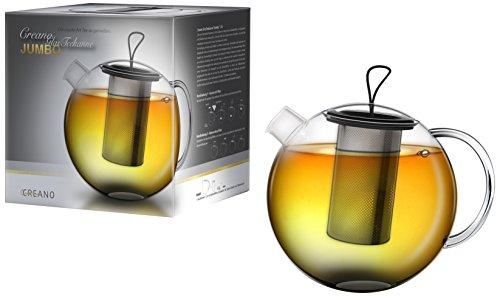 Creano Théière ''Jumbo'' en verre, théière dans un ensemble de 4 pièces avec tamis intégré en Inox, couvercle en verre et joint en silicone, théière design en verre multifonctionnel, tout en un, 1,5l