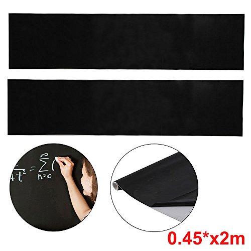 JUEYAN 2X Tafelfolie Selbstklebend Schwarz Kreidefolie Aufkleber Präsentationszubehör Sticker 45 x 200 CM